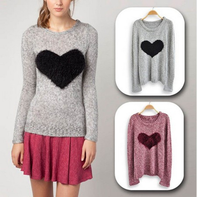 Fashion Women Embroidery Front Love Heart Motif Pattern Jumper ...