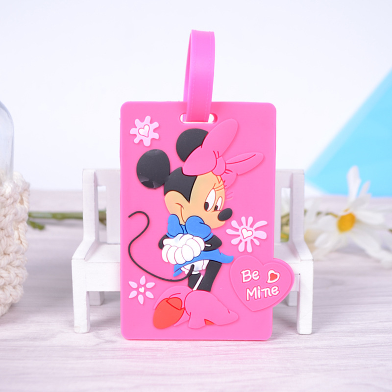 Disney New Creative Cartoon Luggage Tag Cute Boarding Pass Minnie Mouse Color PVC Tag Luggage Check Tag Stitch