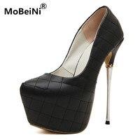 الأحذية الإيطالية مع أكياس مطابقة منقوشة رقيقة كعب منصة أحذية الترا عالية 17 سنتيمتر مثير أحذية الزفاف النساء أحذية عالية الكعب مضخات