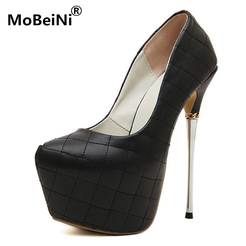 italian shoes with matching bags Plaid Thin heel platform Shoes Ultra High 17cm sexy wedding shoes women Shoes high heel pumps