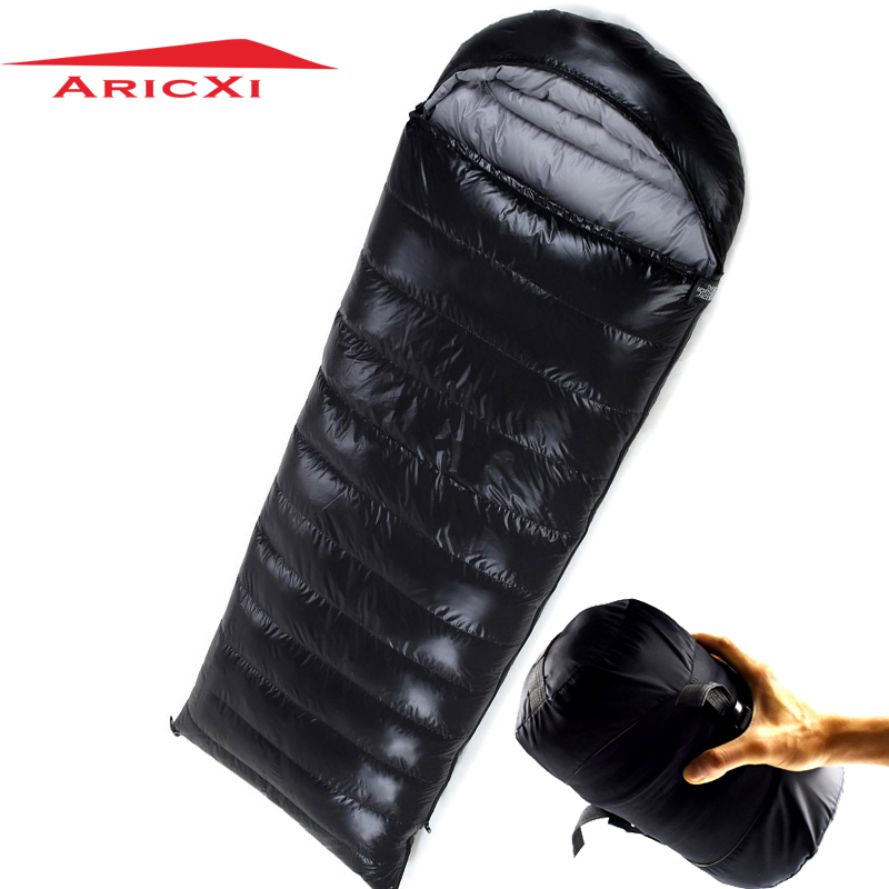 ARICXI Sleeping Bag White Duck Down Outdoor Camping sleeping bag Black 210x80cm конверт в коляску esspero sleeping bag white натуральная шерсть chocolat rv52425 108068600
