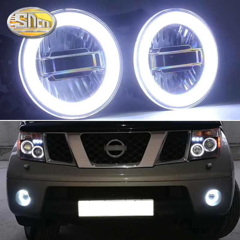 SNCN 3 IN 1 Functions Auto LED Angel Eyes Daytime Running Light Car Projector Fog Lamp For Nissan Pathfinder 2005 2014 2015