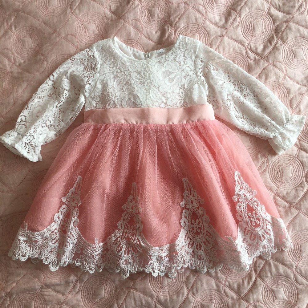 INS toddler lolita lace dress beautiful full sleeve embroidery flower girls wedding dress doll clothing for kids 0 5yrs-in Dresses from Mother & Kids    1