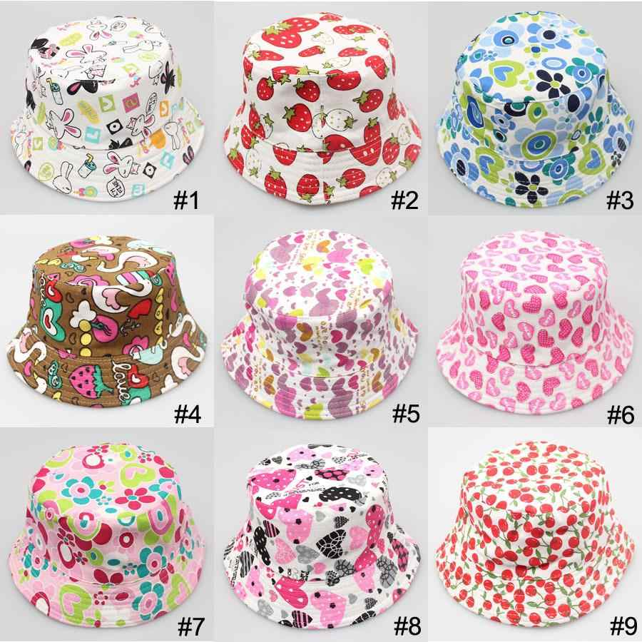 ff1c27e9d1c 2019 Baby Sun Hat Dot Fruit Print Sun Hats Summer Bucket hats Cute Kids Caps  Sun