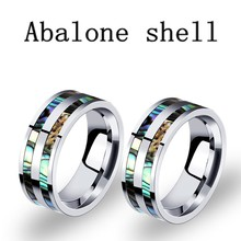8mm Mens แหวนจริง Blue Abalone Shell Inlay Wedding Band ขัด(China)