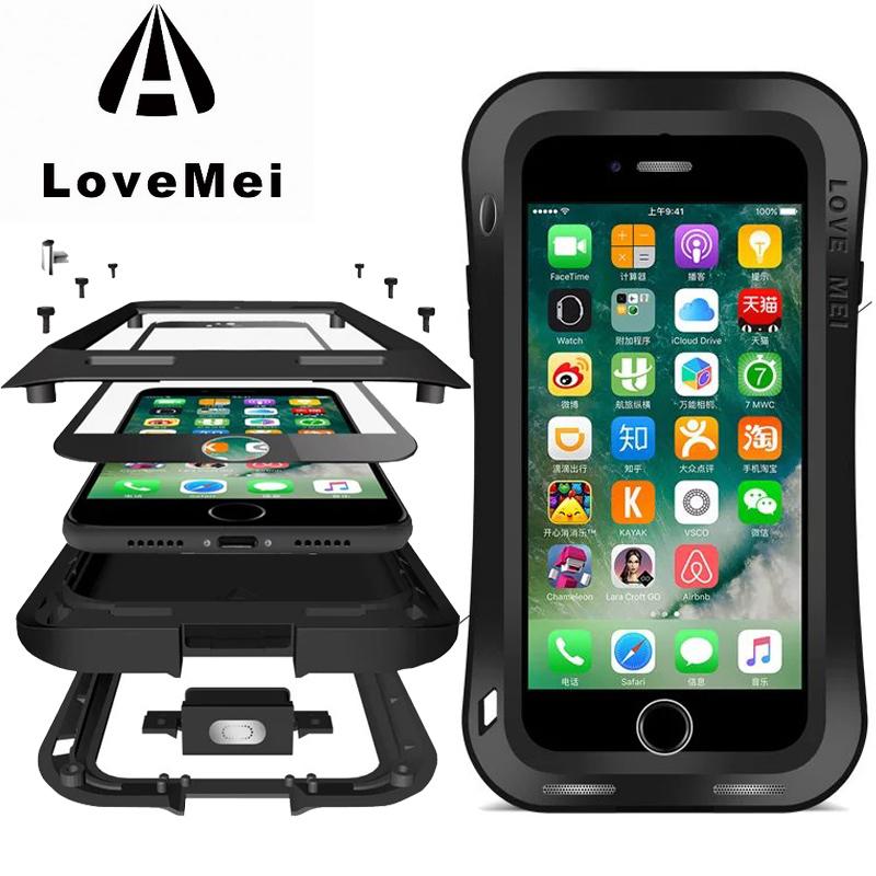 Original Love Mei sale/antichoc robuste trempé gorille verre petite taille en métal aluminium housse arrière pour iPhone 7/7 Plus