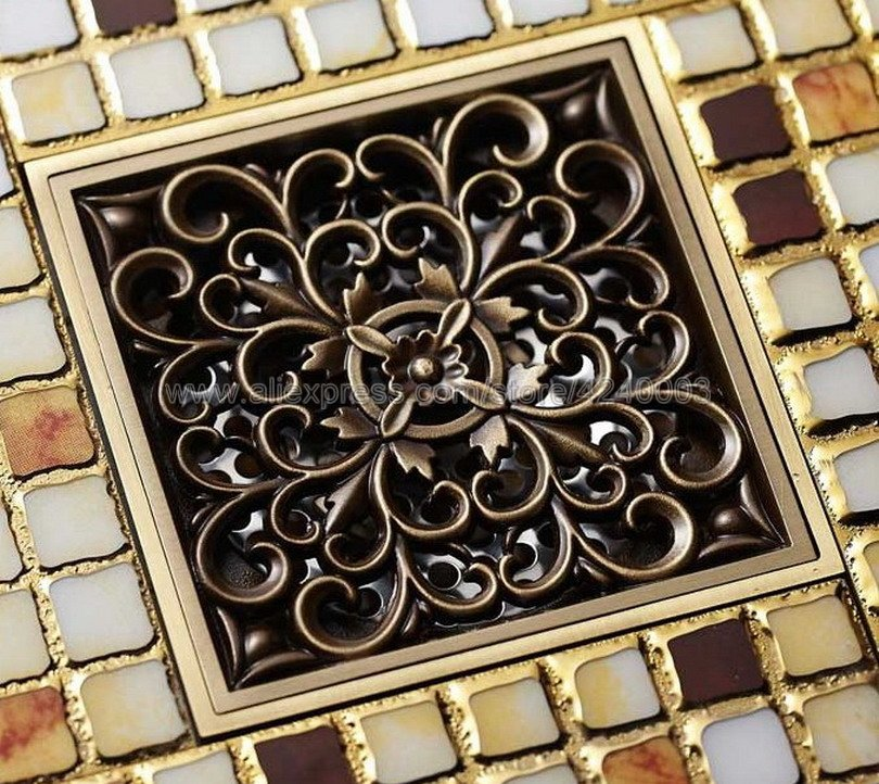 Antique Bronze Brass Floor Drains Art Flower Carved Bathroom Shower Square Strainer Waste Grate Floor Drain Khr013 drains 10 10cm antique brass shower floor drain cover euro art carved bathroom deodorant drain strainer waste grate hj 8507s