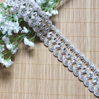 Free Shipping 1 yard Silver Base AAA Grade Crystal Rhinestone Trim For Wedding Gown Bridal Applique Rhinestone Chain LSRT120701