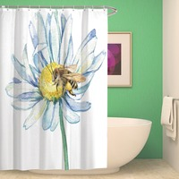 White Poppy Flowers Waterproof Shower Curtain Printed Fabric Polyester Washable Bath Shower Curtain with Hooks for Bathroom