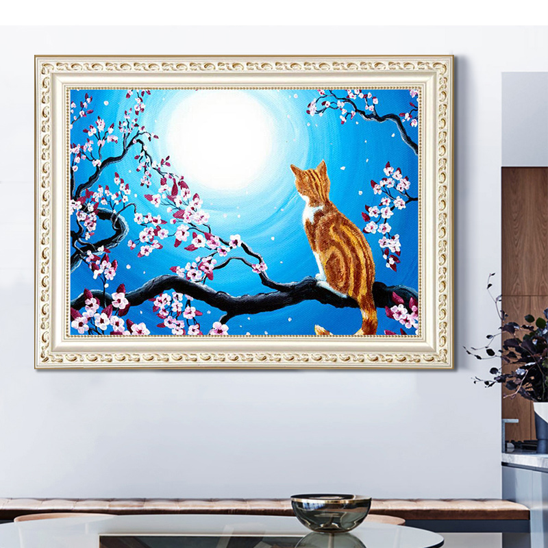 Yellow cat in the tree DIY personalized photo imitation diamond embroidery paint 5D embroidered diamond square mosaic in Diamond Painting Cross Stitch from Home Garden