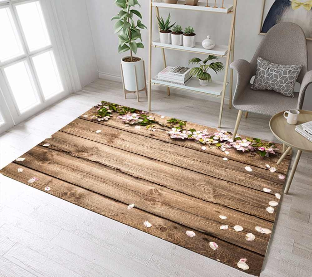 Flower On Rustic Wooden Board Carpets For Baby Children S