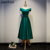 JaneVini Green Off Shoulder Mother Of The Bride Groom Dresses Gorgeous A Line Tea Length Satin Evening Wedding Dresses Mother