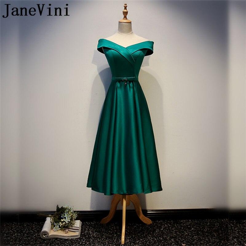 JaneVini vert épaule dénudée mère du marié robes magnifique une ligne thé longueur Satin soirée robes de mariée mère
