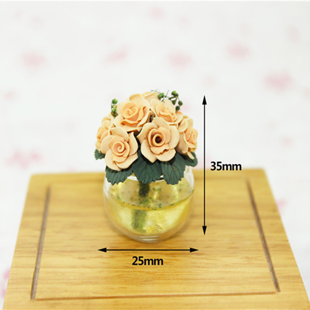 1/12 Dollhouse Miniature Accessories Mini Glass Flower Pot Simulation Bonsai Model Toys for Doll House Decoration