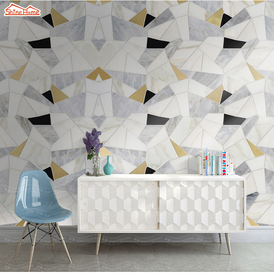 ShineHome-Abstract Brick Black White Polygons Background Wallpapers Rolls 3 d Wallpaper for Livingroom Walls 3d Room Paper Roll shinehome 3d room wallpaper black and white zebra strips wallpapers 3d for walls 3 d livingroom wallpapers mural roll paper