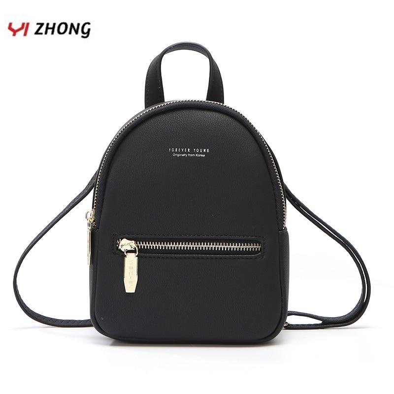 YIZHONG Mini Leather Women Backpack Small Multi-Function Bookbag Female Fashion Shoulder Bags Girl Purse Mochila Feminina
