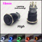 1PC 19MM Black Metal Switch Glowing Ring Push Button With LED 12V/24V Not Released Self-Locking Indication for Car Dash Highhead