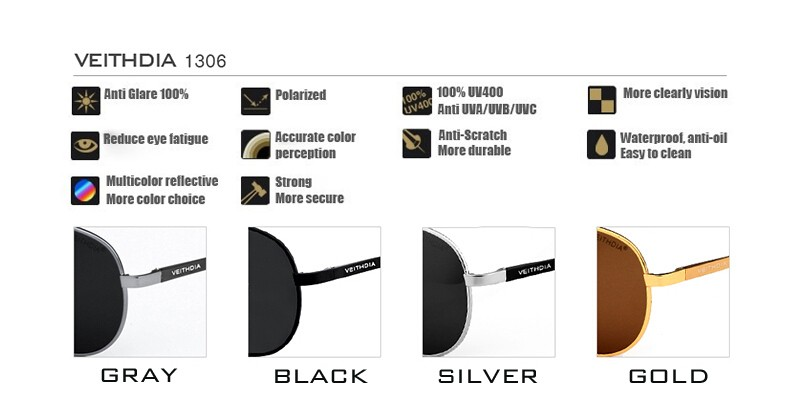 VEITHDIA Men's Polarized Sunglasses 12