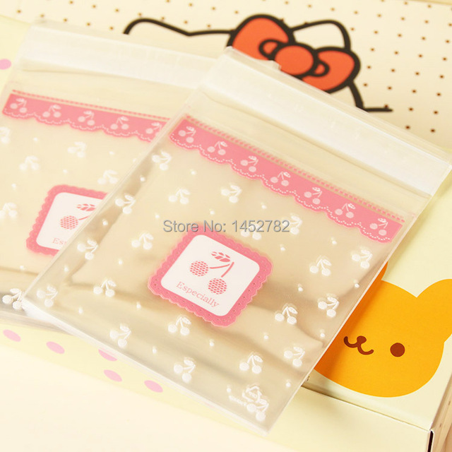100 Pieces Lot Pink Cherry Cookies Self Adhesive Bag Handmade Biscuits Small Plastic