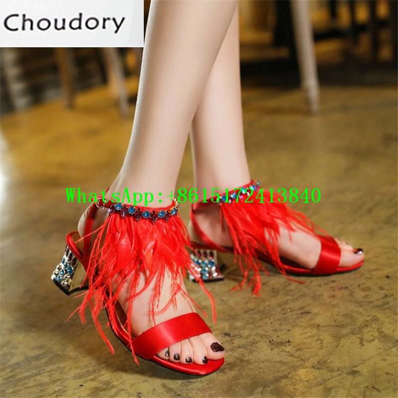 Choudory New Solid Buckle Med Heels Cross-tied Sweet Strange Style Gladiator Sandals Dress Feather Rhinestone Tassel Shoes Woman