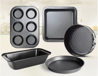 Classic Black 5 Pcs Bakeware Set Cake Mold Tool For Baking Stainless Steel Pizza Pans In