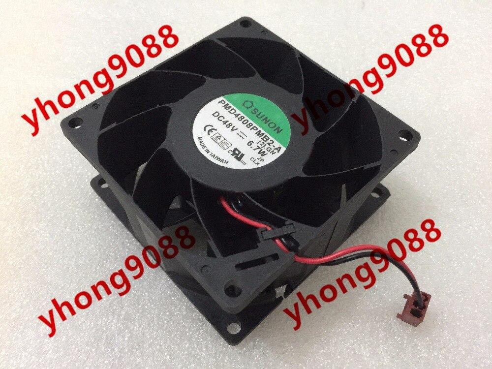 SUNON PMD4808PMB2-A, 2.GN DC 48V 6.7W 80x80x38mm Server Square Fan free shipping for delta pfb0848dhe ck2a dc 48v 1 00a 80x80x38mm 4 wire server square cooling fan