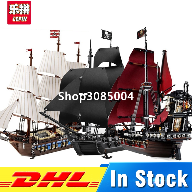 LEPIN 16006 Pirates of the Caribbean The Black Pearl Ship+16009 Queen Anne's Reveage+22001 Imperial Warships Building Blocks Set lepin 16009 caribbean blackbeard queen anne s revenge mini bricks set sale pirates of the building blocks toys for kids gift