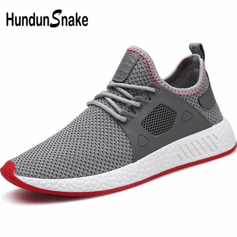 Hundunsnake Mesh Running Shoes For Men Sneakers Man Sport Shoes Sports Male Summer Training Shoes Men Trainer Gray Walking B-028