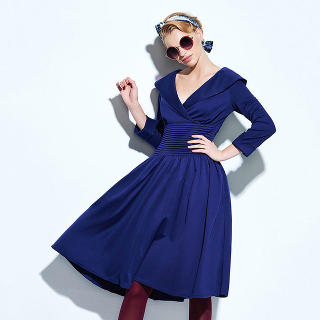 d77bfa5f4 Sisjuly Women Summer Solid Dark Blue Dress Female A-line V-Neck Dresses 3 4  SleeveAnkle-Length Female Turndown Girls Dresses