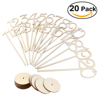 PIXNOR 20pcs 1 20 Wooden Table Numbers With Holder Base For Wedding Or Home Decoration Wood