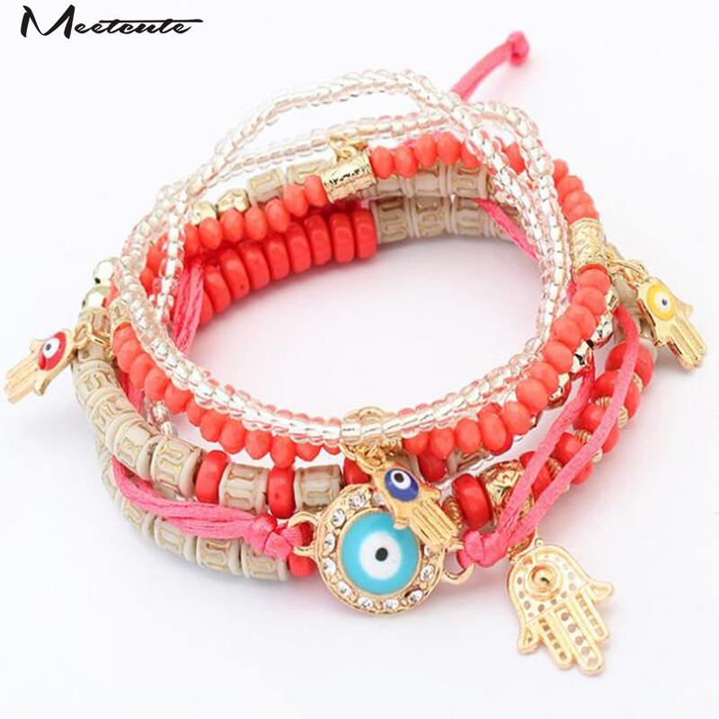 Meetcute Elegant Bohemian Style Multi-Layer Bead Bracelets For Woman Bracelet & Bangles Colorful Black Jewelry