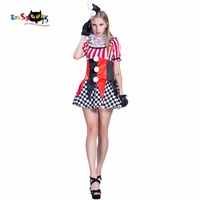 2017 New Arrival Adult Halloween Costumes Anime Cosplay Clown Costume Women Plaid Dress Christmas Party Cosplay Carnival Costume