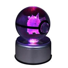 Gengar 8cm 3d Laser Go Crystal Ball Mew Led Night Light Magic Ball For Children Christmas Gifts Novelty 3d Led Lamp