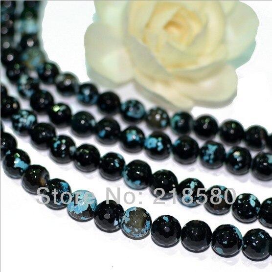 H-arb10 5strands/lot синий и черный огненный агат Бусины оптовая продажа круглый бриллиант Форма Бусины 12 мм