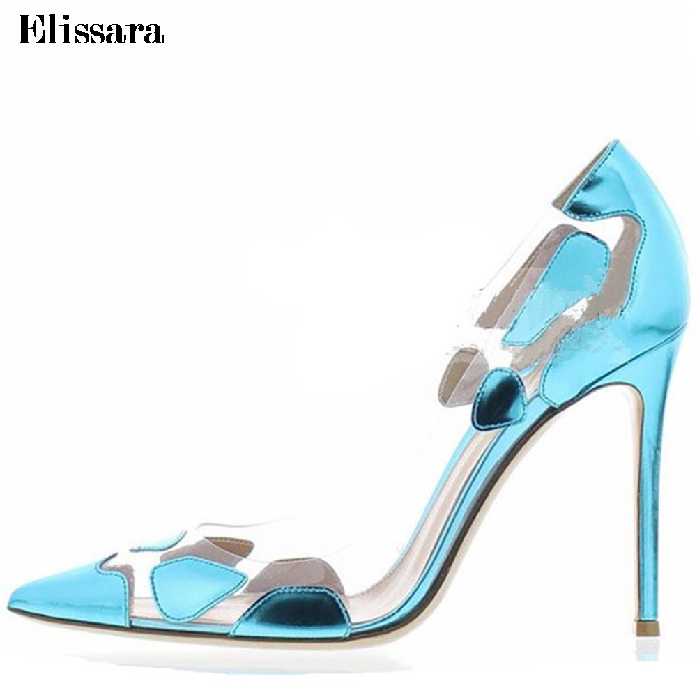 Women's Transparent Stilettos Sexy High Heels Pumps Shoes for Woman High Heeled Ladies Party Female Shoes Size 33-43 Elissara euro size 34 44 pu woman 15 and 17cm high heels platform sandals nightclub woman high heeled birthday party shoes for t station