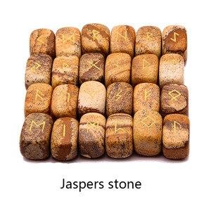 Image 3 - 25 pcs טבעי אבן גילוף ויקינג מילות הקסם קמע סט רייקי רוני אלפבית ריפוי גבישי קוורץ ניחוש אבנים תכשיטים
