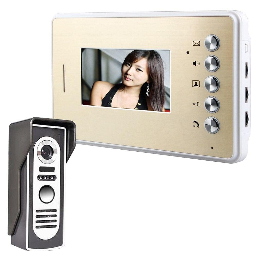 Mountainone One To One Video Door Phone Doorbell Intercom Kit 1 Camera + 1 Monitor 4.3