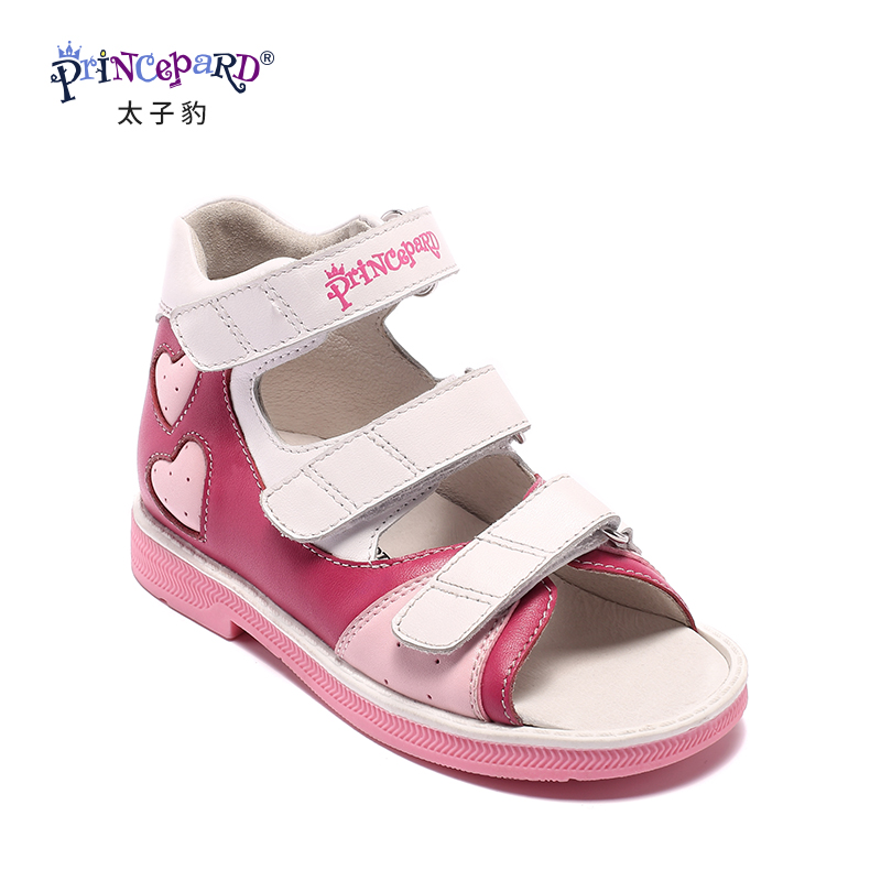 PRINCEPARD Newest genuine Leather low ankle  Sandals for girls Children Orthopedic Shoes Kids