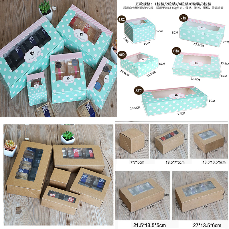 Blue Dot/brown Cookie Package Corrugated Kraft Cake Box With Pvc Window Chocolate Cake Muffin Biscuit Packaging Gift Box Cheap