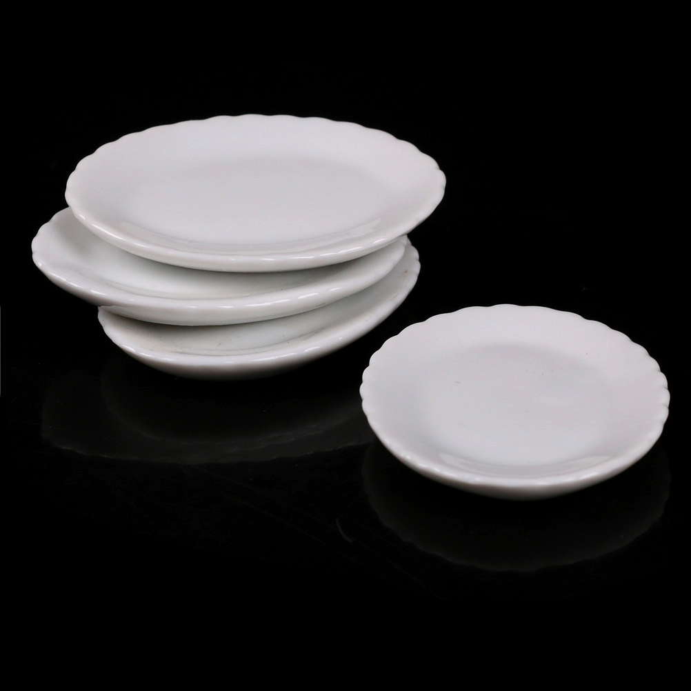 Miniature Crockery for Dollhouse 1:12 Scale Cupboard Plates Ceramic China 4 pcs