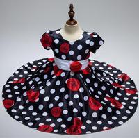 Nueva llegada 2018 verano princesa vestido niña Classic negro lunares blancos niños bailando Vestidos para la muchacha envío gratis