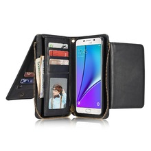 JSLTXDY For Samsung s8 plus Multifunction Wallet Leather Case For galaxy S6 s6edge S7 EDGE NOTE5 Zipper Purse Pouch Phone Cases