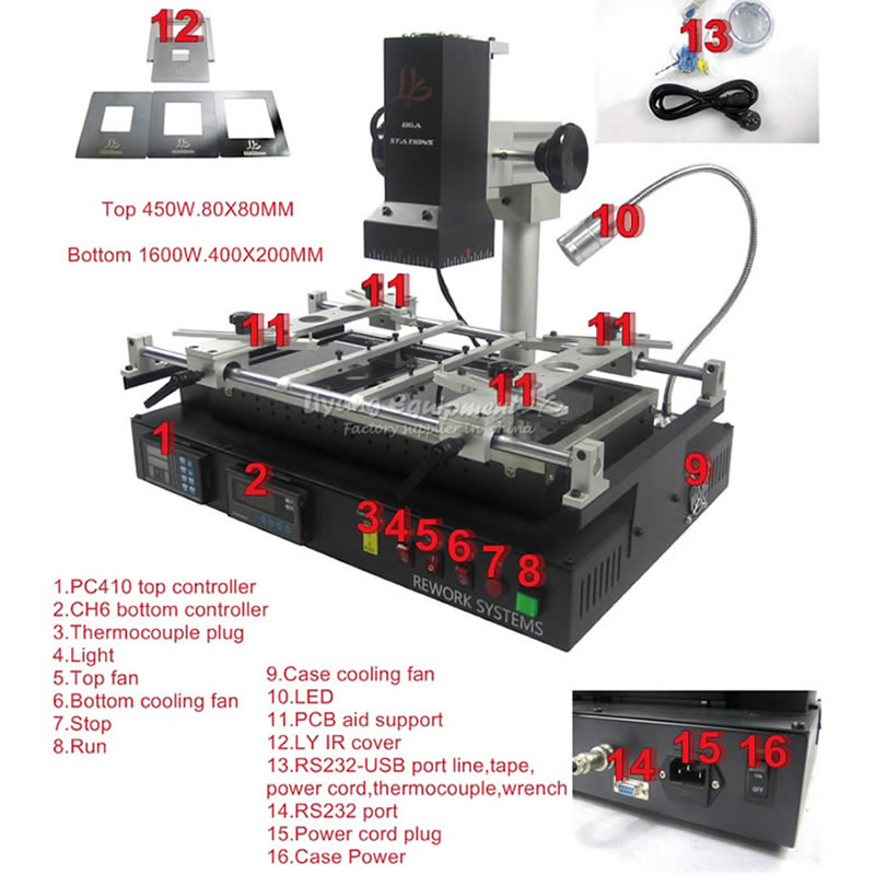 LY IR8500 Infrared BGA Rework Station with IR Cover Preheating Area 400*200mm BGA Reballing Machine ly m770 infrared bga rework station bga reballing machine suitable for leaded