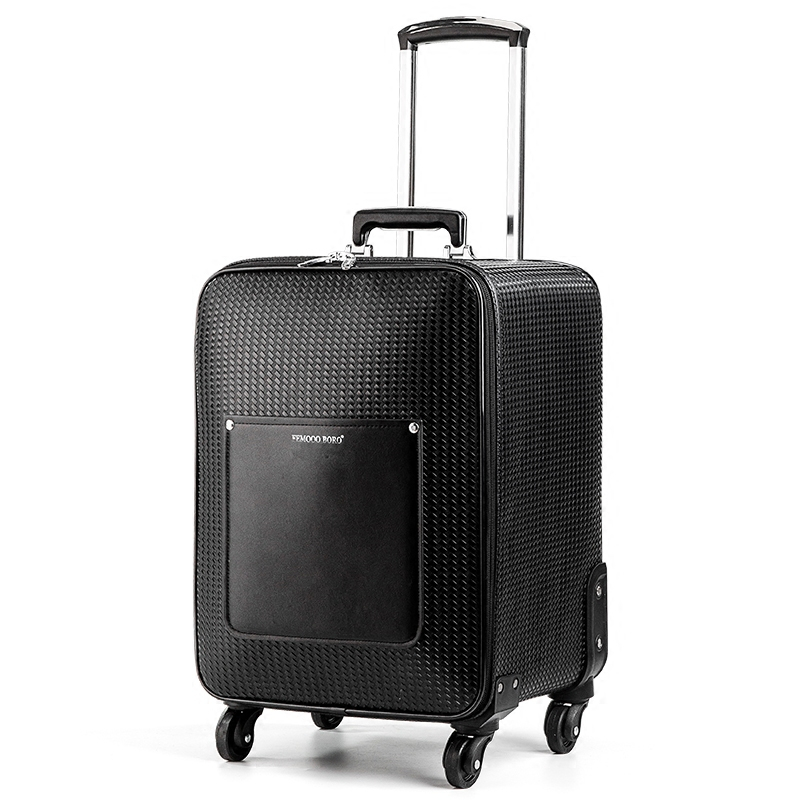 New Arrival High quality pu leather black color trolley luggage on universal wheels men and women