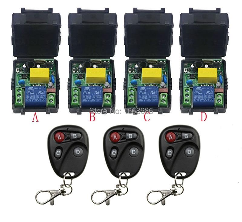 ФОТО New AC220V 1CH Radio Controller RF Wireless Relay Remote Control Switch 315 MHZ 433 MHZ 3Transmitter +4 Receiver
