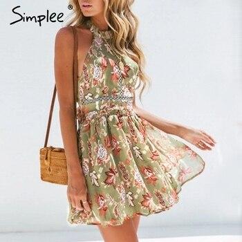 c099001f125c5 Simplee Bohemian çiçek baskı kadın elbise Elastik yüksek bel seksi yaz elbisesi  Zarif backless papyon şifon mini elbise 2019