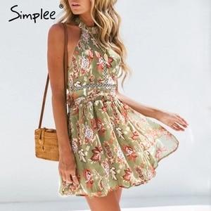 Simplee Bohemian floral print women dress Elastic high waist sexy summer dress Elegant backless bow tie chiffon mini dress 2019
