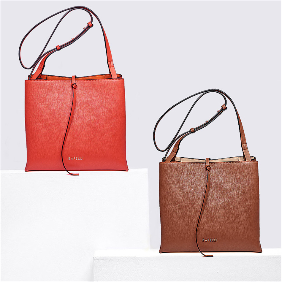 a344cac05c BAFELLI Women basis Bucket Bags Cow Leather Women Messenger Bags Solid Lady  Cross Body Bag Tassels Shoulder Bag Female Bo