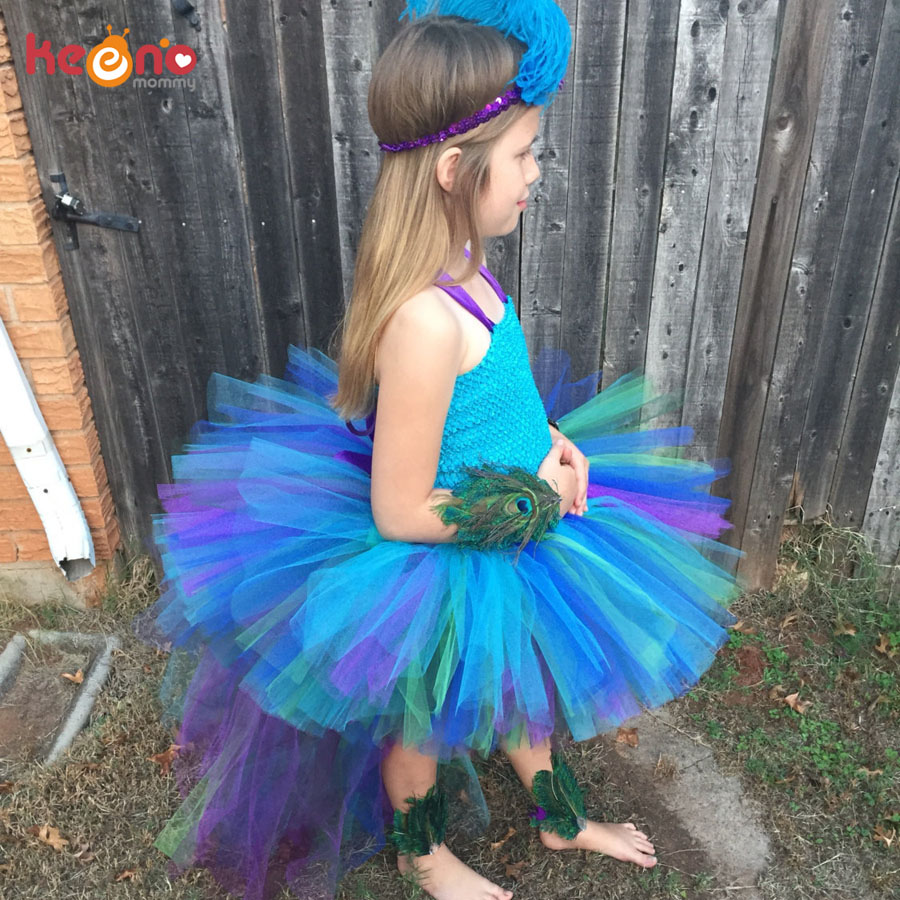 Peacock Tutu Dress For Girls Pageant Birthday Party Ball Gown Baby Girls Peacock Vestidos Children Purim Clothes Photo Props (1)
