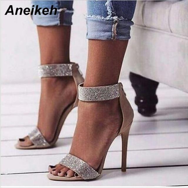 Aneikeh estilo Roma verano nuevo Sexy mujer Beige Color rosa brillo cristal abierto dedo del pie cremallera espalda tacones finos fiesta sandalias zapatos